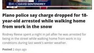 Charges dropped on 18 year old arrested for walking in snow